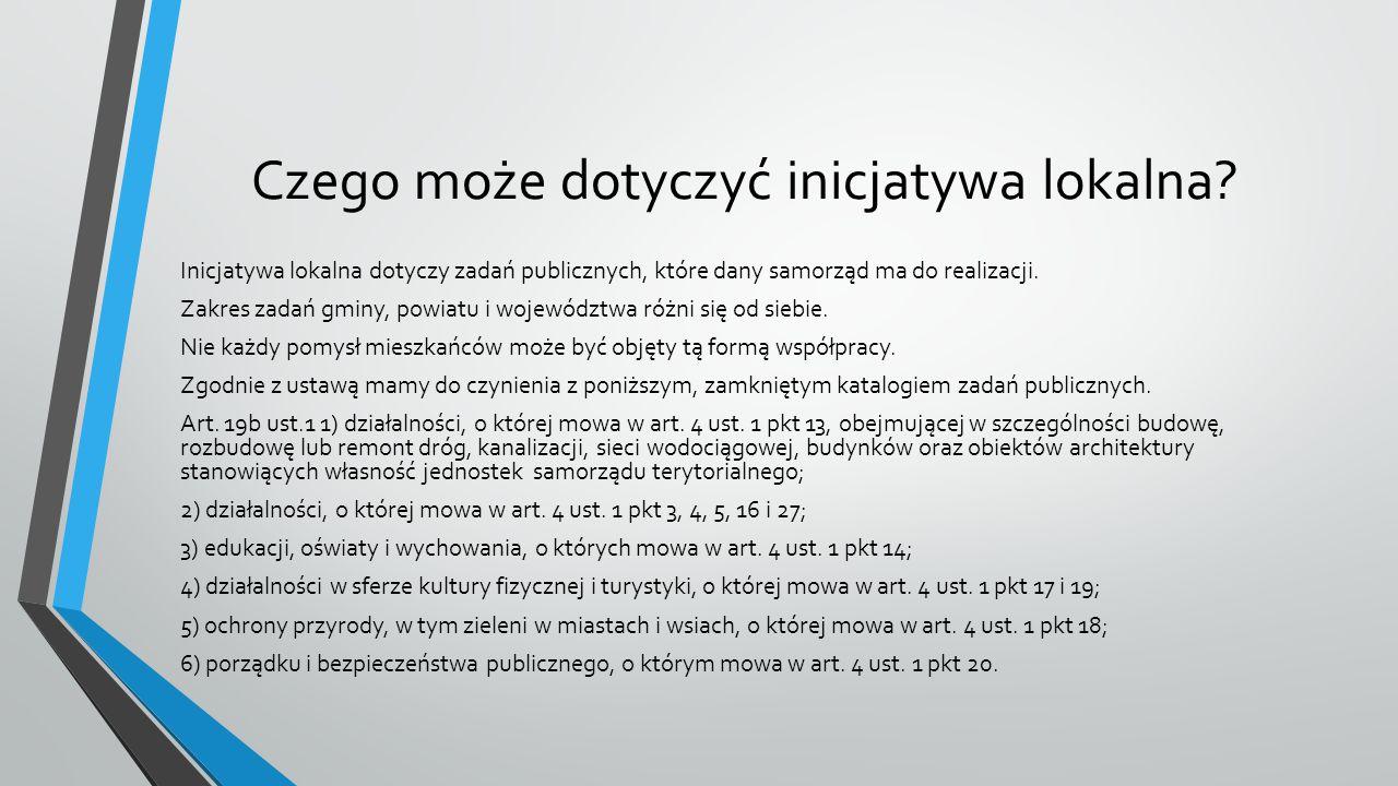 Wniosek o inicjatywę lokalną może dotyczyć (zgodnie z art.