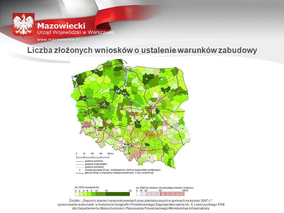 """Liczba złożonych wniosków o ustalenie warunków zabudowy Żródło: """"Raport o stanie i uwarunkowaniach prac planistycznych w gminach na koniec 2007 r."""" op"""