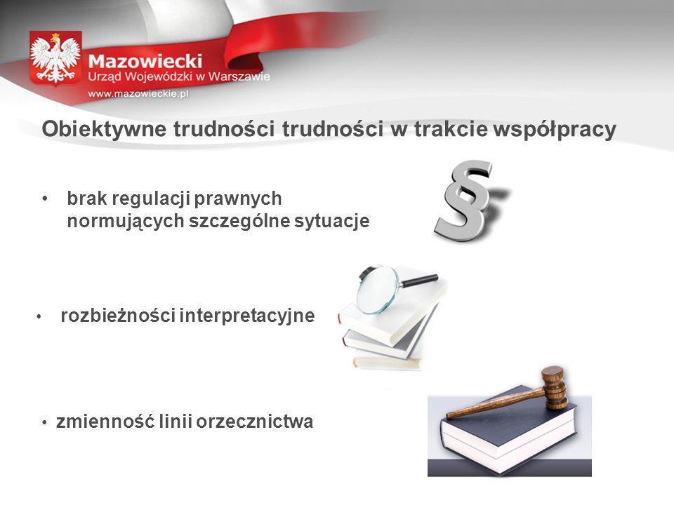 brak regulacji prawnych normujących szczególne sytuacje Obiektywne trudności trudności w trakcie współpracy rozbieżności interpretacyjne zmienność linii orzecznictwa