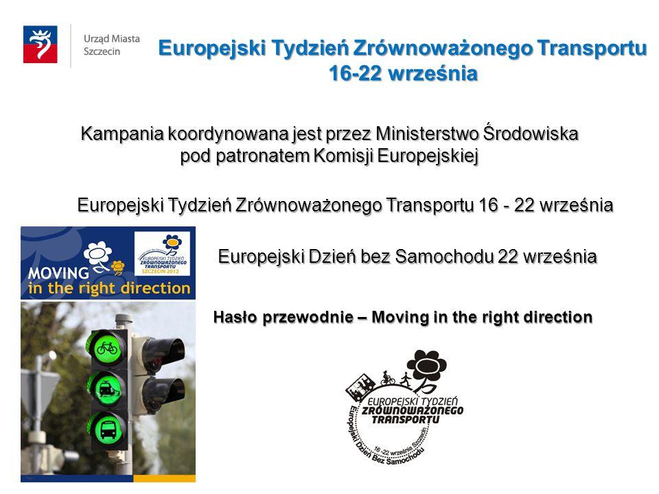 Europejski Tydzień Zrównoważonego Transportu 16-22 września Kampania koordynowana jest przez Ministerstwo Środowiska pod patronatem Komisji Europejski