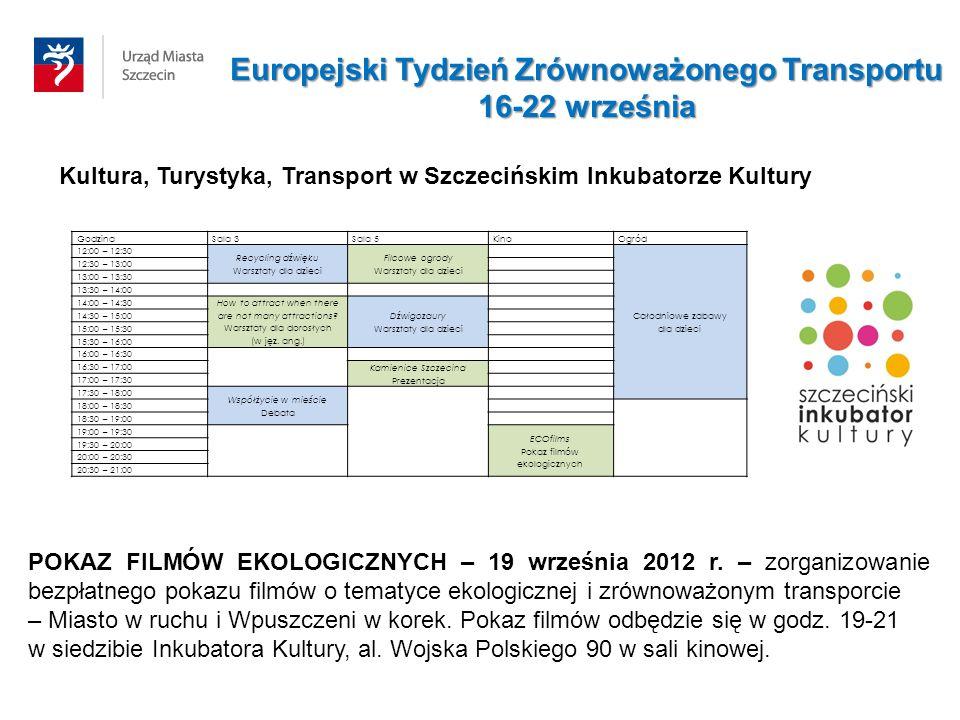 Kultura, Turystyka, Transport w Szczecińskim Inkubatorze Kultury GodzinaSala 3Sala 5KinoOgród 12:00 – 12:30 Recycling dźwięku Warsztaty dla dzieci Fil