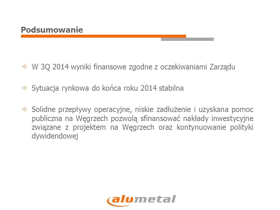 Podsumowanie  W 3Q 2014 wyniki finansowe zgodne z oczekiwaniami Zarządu  Sytuacja rynkowa do końca roku 2014 stabilna  Solidne przepływy operacyjne