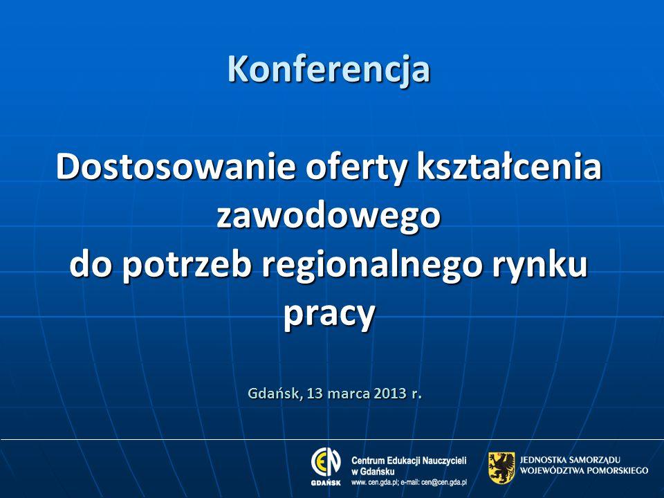 Konferencja Dostosowanie oferty kształcenia zawodowego do potrzeb regionalnego rynku pracy Gdańsk, 13 marca 2013 r.