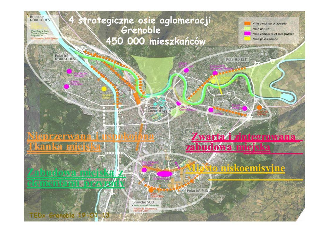 5 Nieprzerwana i uspokojona Tkanka miejska Zabudowa miejska z elementami przyrody Zwarta i zintegrowana zabudowa miejska Miasto niskoemisyjne 4 strategiczne osie aglomeracji Grenoble 450 000 mieszkańców