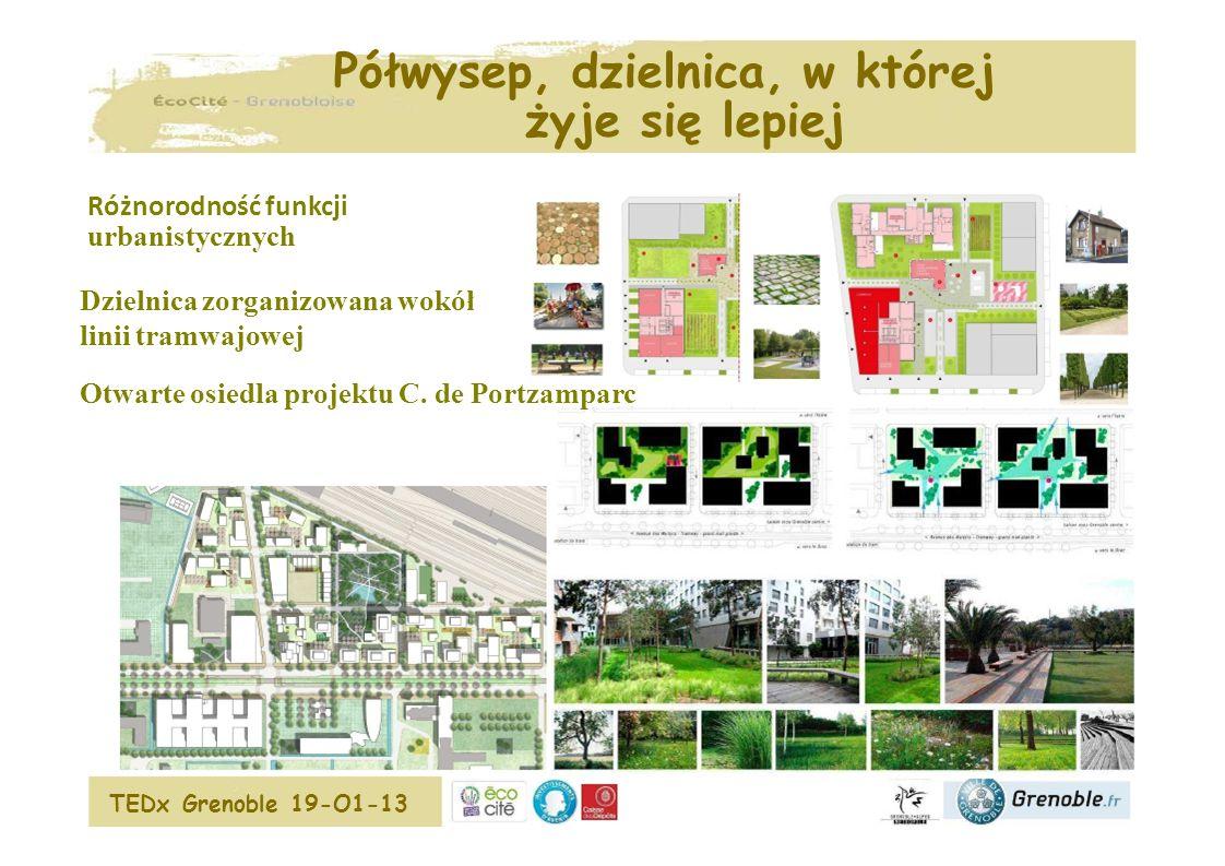 Zintegrowany koncept Grenoble EcoCité Zintegrowany system miejski Zintegrowane osiedla Nowoczesne budownictwo Pompa grzewcza WSP Ó LNA SIE Ć CIEPŁOWNICZA Węzeł letniej wody na warstwie Biomasy Tr ój generacja biomasy, wytwarzanie ciep ł a, zimna, elektryczno ś ci Samochód elektryczny ZINTEGROWANA SIEĆ ELEKTRYCZNA Ekologiczna energia: słoneczna, wodna, z drewna Oświetlenie przestrzeni publicznej NOWOCZESNA MOBILNOŚĆ System informacji użytkowników Wspólne miejsca parkingowe w budynkach Walka z zanieczyszczeniem powietrza Otwarte Centrum Innowacji  interaktywne miejsce wymiany w EcoCité