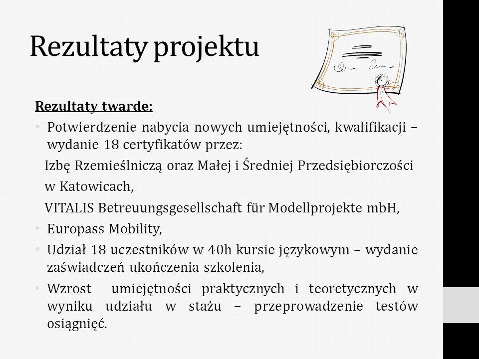 Rezultaty miękkie: Poszerzenie wiedzy praktycznej uczestników, Zdobycie nowych kompetencji, Rozbudzenie ciekawości innymi krajami europejskimi, Zwiększenie otwartości na inne kraje i kultury, Zwiększenie pewności w podróżowaniu za granice Polski, Nawiązanie kontaktów międzynarodowych.