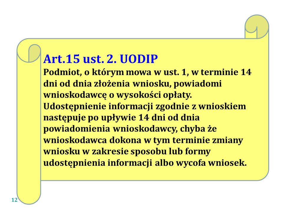 12 Art.15 ust.2. UODIP Podmiot, o którym mowa w ust.