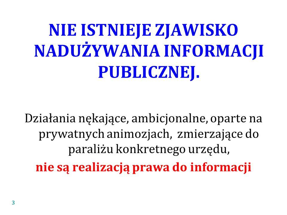 NIE ISTNIEJE ZJAWISKO NADUŻYWANIA INFORMACJI PUBLICZNEJ.