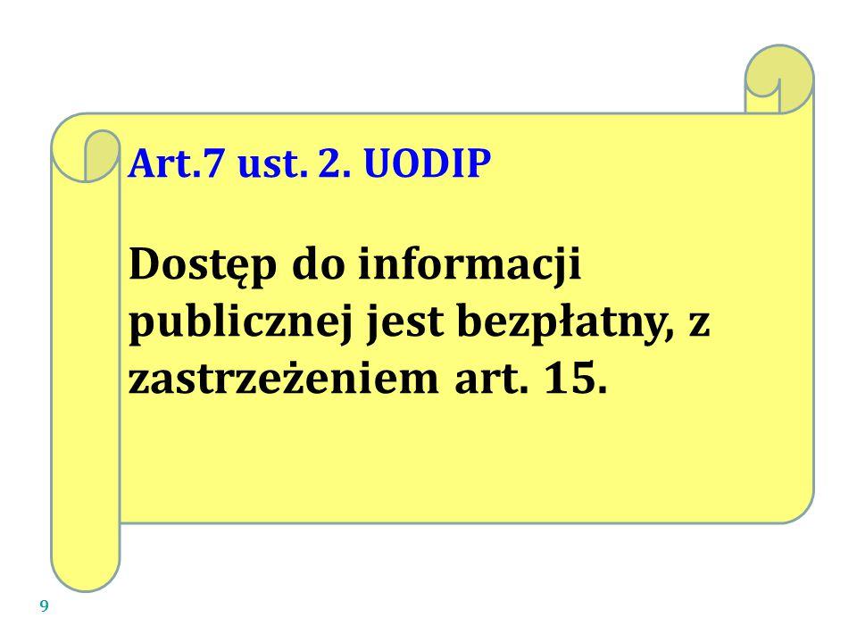 9 Art.7 ust. 2. UODIP Dostęp do informacji publicznej jest bezpłatny, z zastrzeżeniem art. 15.