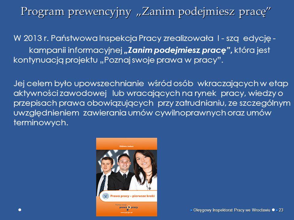"""Program prewencyjny """"Zanim podejmiesz pracę"""" W 2013 r. Państwowa Inspekcja Pracy zrealizowała I - szą edycję - kampanii informacyjnej """"Zanim podejmies"""
