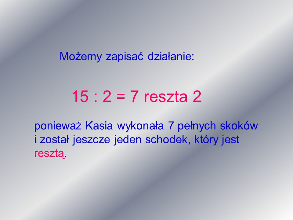 Możemy zapisać działanie: 15 : 2 = 7 reszta 2 ponieważ Kasia wykonała 7 pełnych skoków i został jeszcze jeden schodek, który jest resztą.