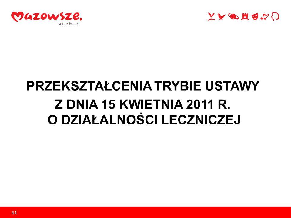 Przekształcenia SPZOZ w Polsce w latach 2011-2013 Zgodnie z art.