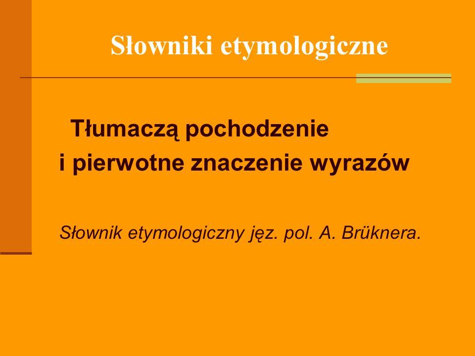 Słowniki etymologiczne Tłumaczą pochodzenie i pierwotne znaczenie wyrazów Słownik etymologiczny jęz. pol. A. Brüknera.
