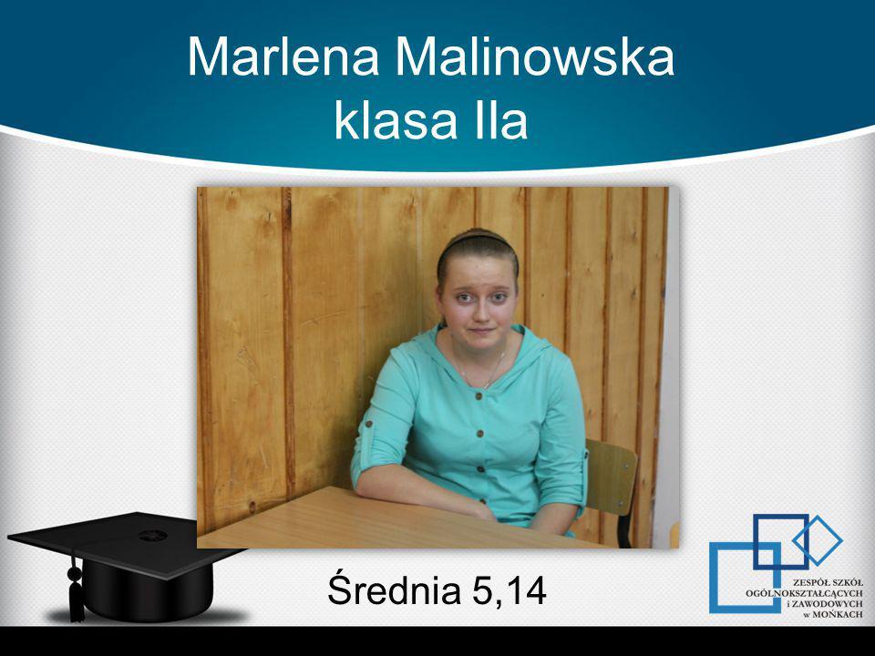Marlena Malinowska klasa IIa Średnia 5,14