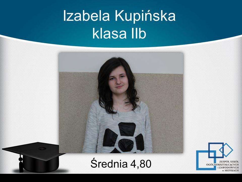 Izabela Kupińska klasa IIb Średnia 4,80