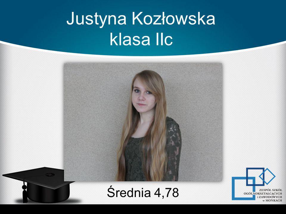 Justyna Kozłowska klasa IIc Średnia 4,78