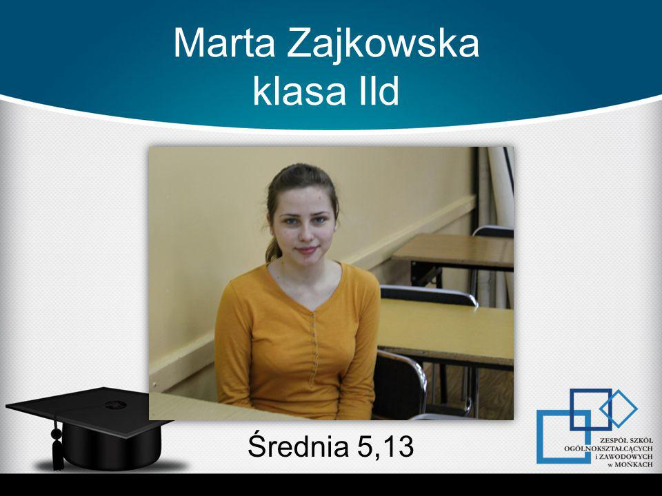 Marta Zajkowska klasa IId Średnia 5,13