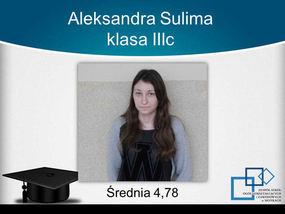 Aleksandra Sulima klasa IIIc Średnia 4,78