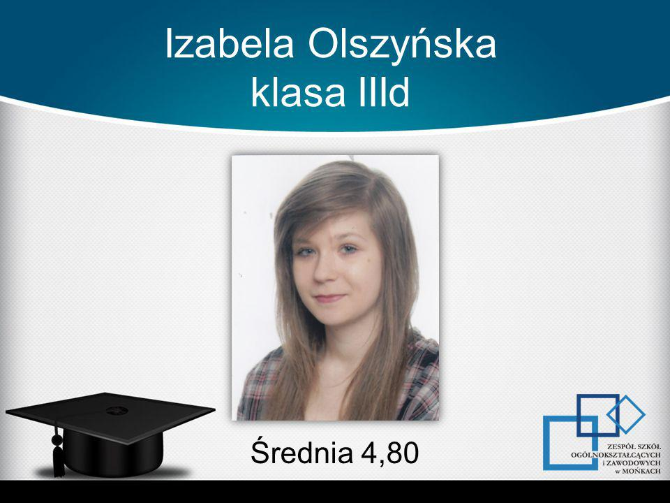 Izabela Olszyńska klasa IIId Średnia 4,80