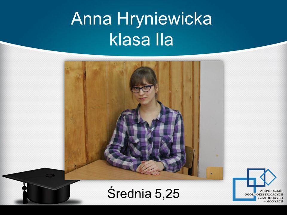 Anna Hryniewicka klasa IIa Średnia 5,25