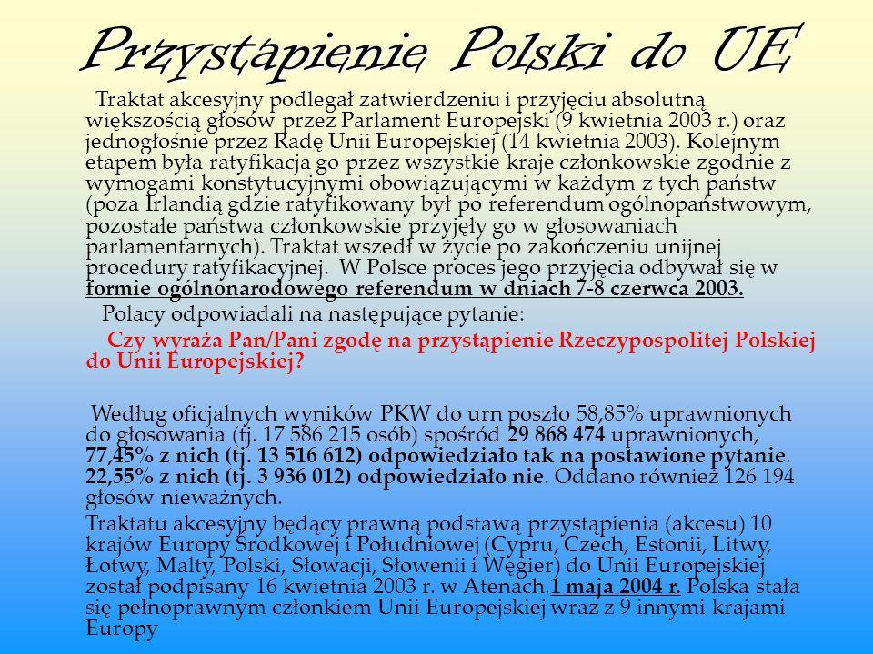 Przystapienie Polski do UE Traktat akcesyjny podlegał zatwierdzeniu i przyjęciu absolutną większością głosów przez Parlament Europejski (9 kwietnia 20