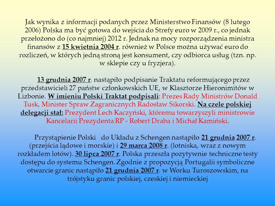 Jak wynika z informacji podanych przez Ministerstwo Finansów (8 lutego 2006) Polska ma być gotowa do wejścia do Strefy euro w 2009 r., co jednak przeł