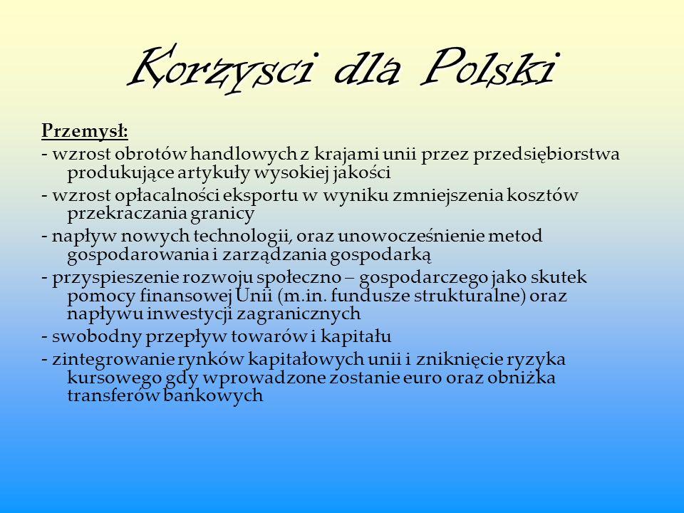 Korzysci dla Polski Przemysł: - wzrost obrotów handlowych z krajami unii przez przedsiębiorstwa produkujące artykuły wysokiej jakości - wzrost opłacal