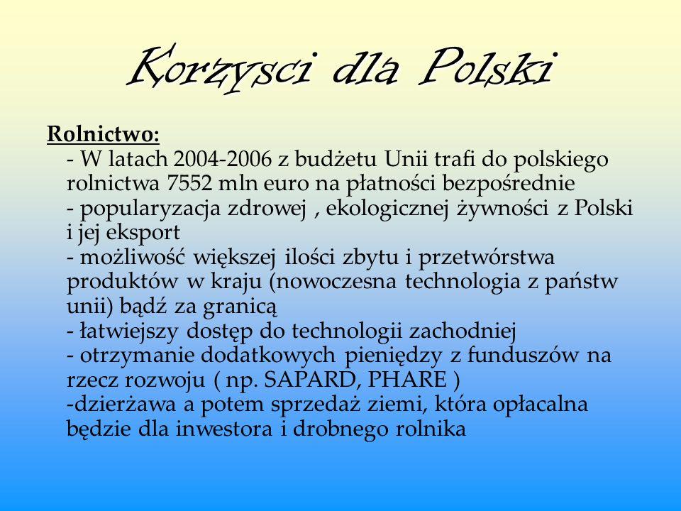 Korzysci dla Polski Rolnictwo: - W latach 2004-2006 z budżetu Unii trafi do polskiego rolnictwa 7552 mln euro na płatności bezpośrednie - popularyzacj