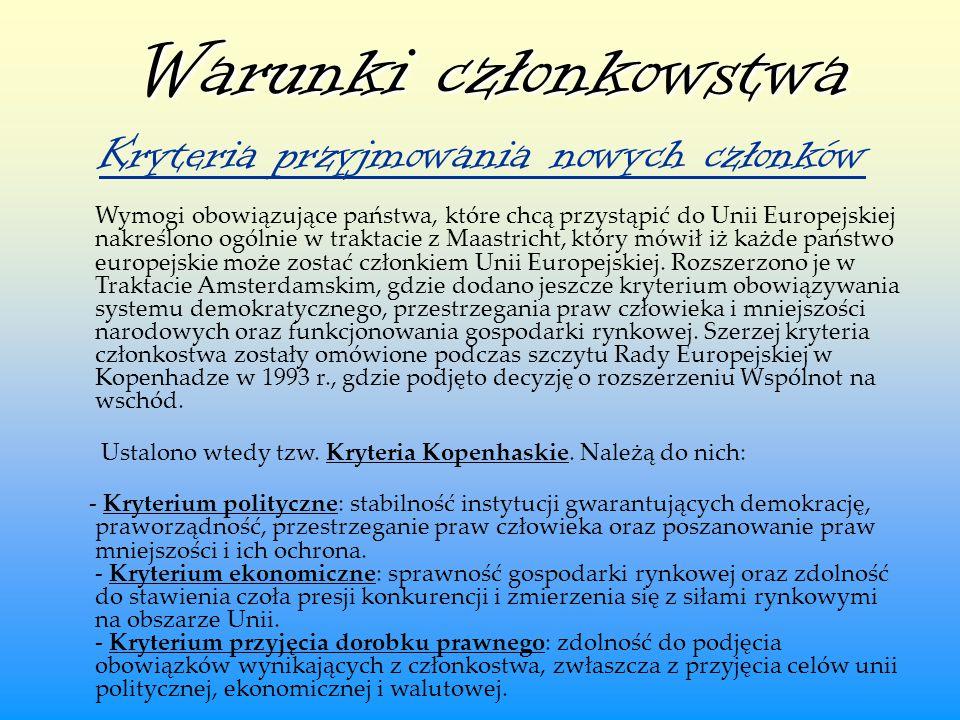 Warunki członkowstwa Warunki członkowstwa Kryteria przyjmowania nowych członków Wymogi obowiązujące państwa, które chcą przystąpić do Unii Europejskie