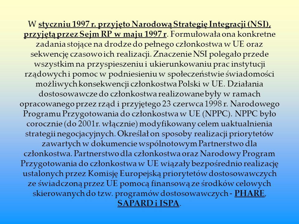 W styczniu 1997 r. przyjęto Narodową Strategię Integracji (NSI), przyjętą przez Sejm RP w maju 1997 r. Formułowała ona konkretne zadania stojące na dr