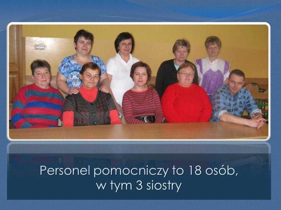 Personel pomocniczy to 18 osób, w tym 3 siostry