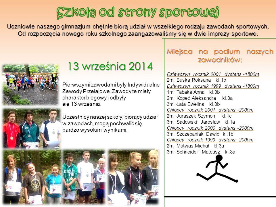 Uczniowie naszego gimnazjum chętnie biorą udział w wszelkiego rodzaju zawodach sportowych. Od rozpoczęcia nowego roku szkolnego zaangażowaliśmy się w