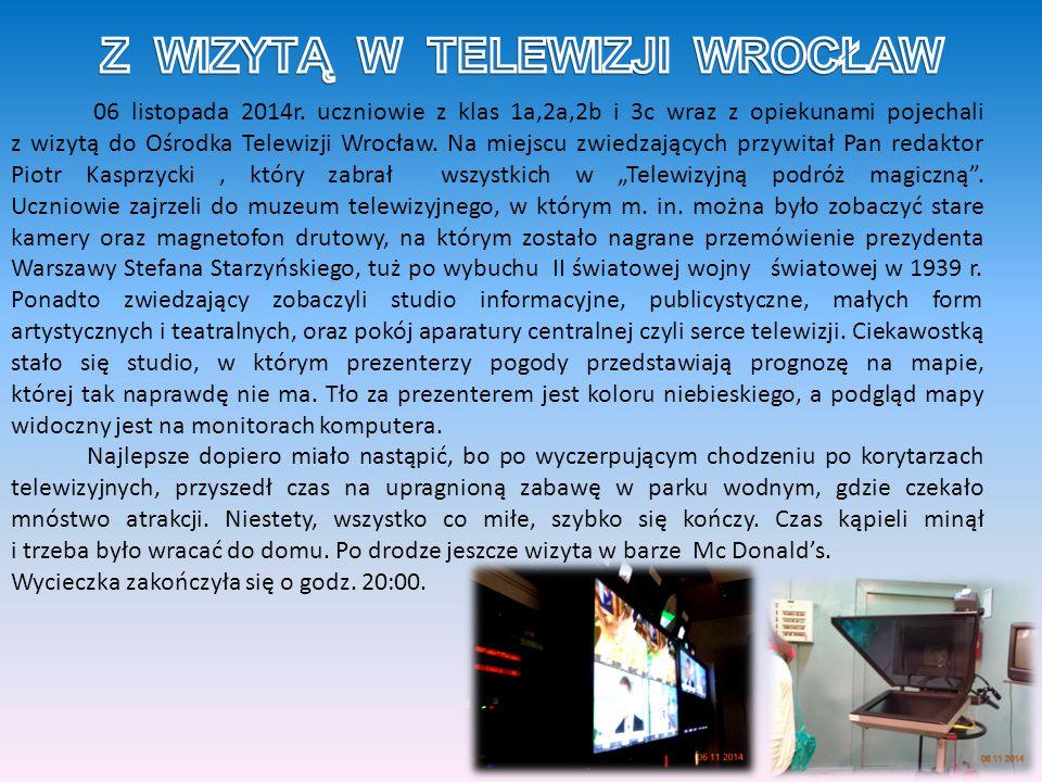 06 listopada 2014r. uczniowie z klas 1a,2a,2b i 3c wraz z opiekunami pojechali z wizytą do Ośrodka Telewizji Wrocław. Na miejscu zwiedzających przywit