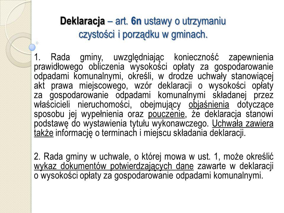 Deklaracja – art. 6n ustawy o utrzymaniu czystości i porządku w gminach.