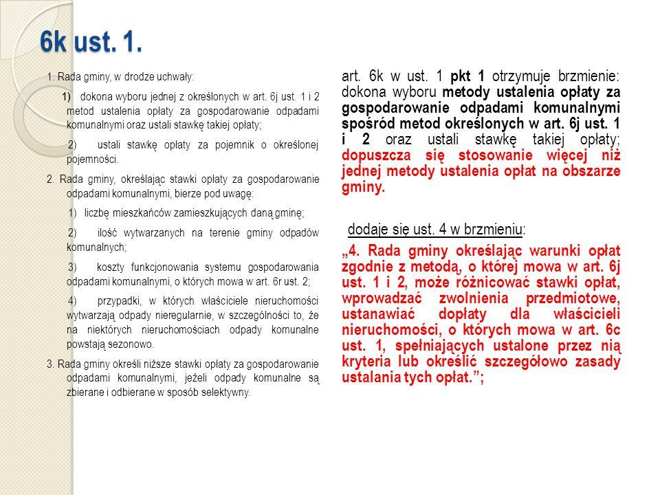 6k ust. 1. 1. Rada gminy, w drodze uchwały: 1) dokona wyboru jednej z określonych w art.