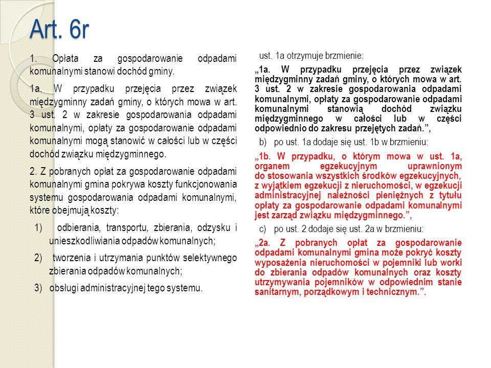 Art. 6r 1. Opłata za gospodarowanie odpadami komunalnymi stanowi dochód gminy.