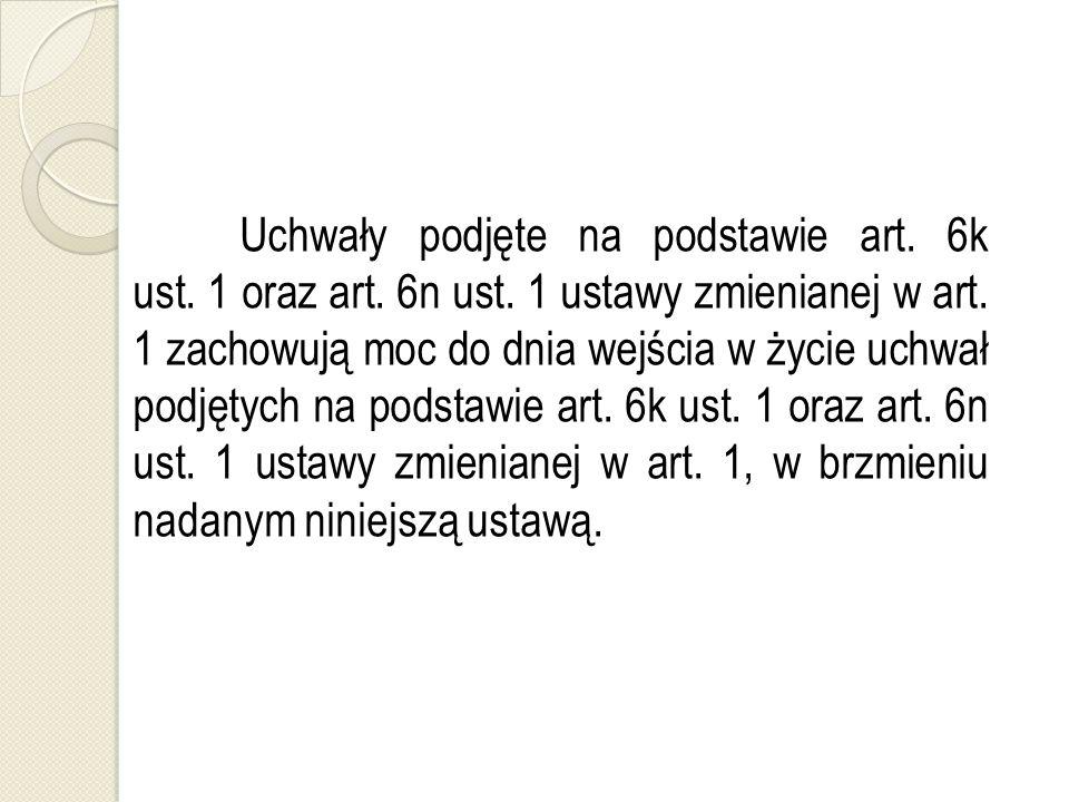 Uchwały podjęte na podstawie art. 6k ust. 1 oraz art.