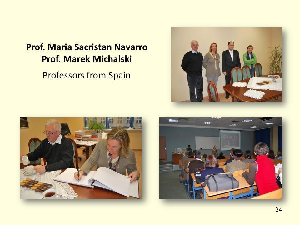 34 Prof. Maria Sacristan Navarro Prof. Marek Michalski Professors from Spain