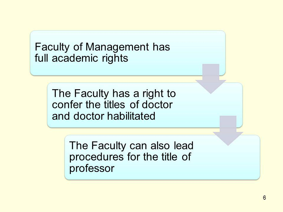 6 Faculty of Management has full academic rights The Faculty has a right to confer the titles of doctor and doctor habilitated The Faculty can also lead procedures for the title of professor