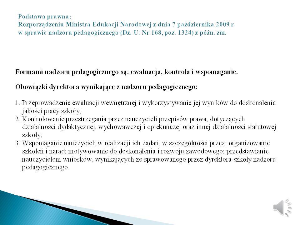 Szkoła Podstawowa z Oddziałami Integracyjnymi Nr 4 w Oświęcimiu Sprawozdanie z nadzoru pedagogicznego w roku szkolnym 2013/2014