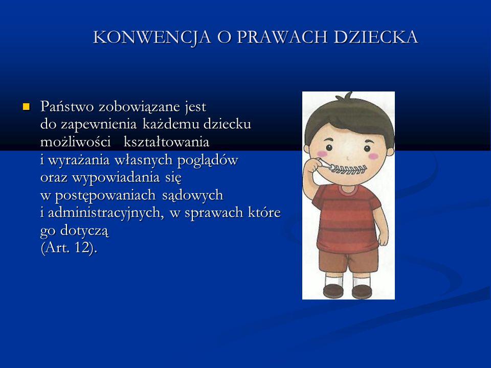 KONWENCJA O PRAWACH DZIECKA Państwo zobowiązane jest do zapewnienia każdemu dziecku możliwości kształtowania i wyrażania własnych poglądów oraz wypowi