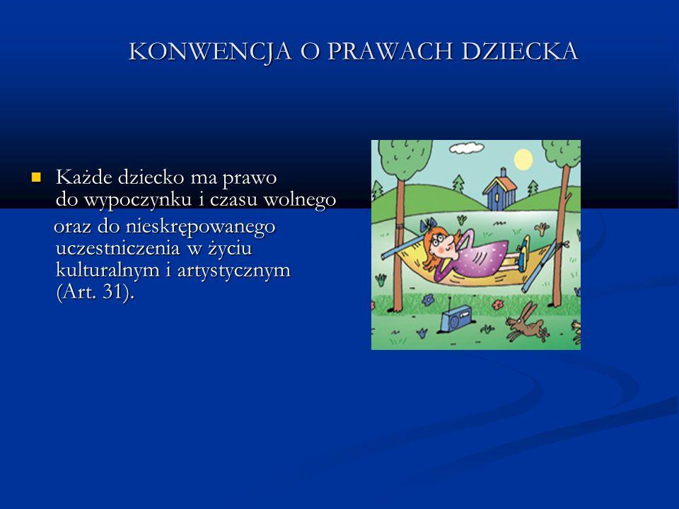 KONWENCJA O PRAWACH DZIECKA Każde dziecko ma prawo do wypoczynku i czasu wolnego Każde dziecko ma prawo do wypoczynku i czasu wolnego oraz do nieskręp