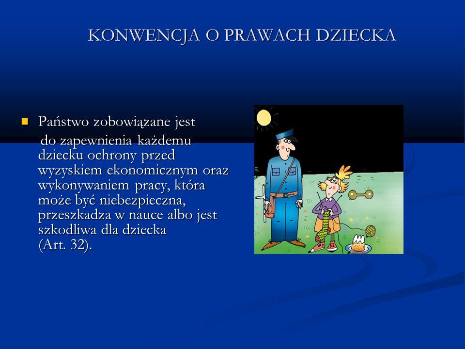 KONWENCJA O PRAWACH DZIECKA Państwo zobowiązane jest Państwo zobowiązane jest do zapewnienia każdemu dziecku ochrony przed wyzyskiem ekonomicznym oraz