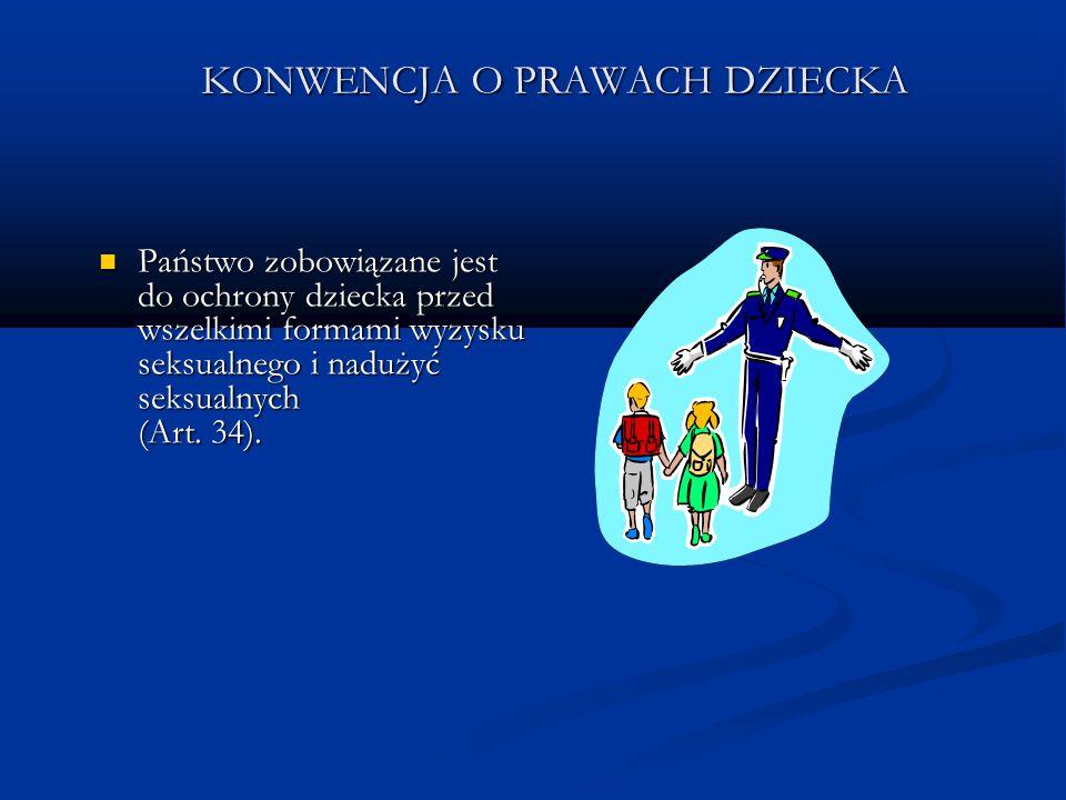 KONWENCJA O PRAWACH DZIECKA Państwo zobowiązane jest do ochrony dziecka przed wszelkimi formami wyzysku seksualnego i nadużyć seksualnych (Art. 34). P