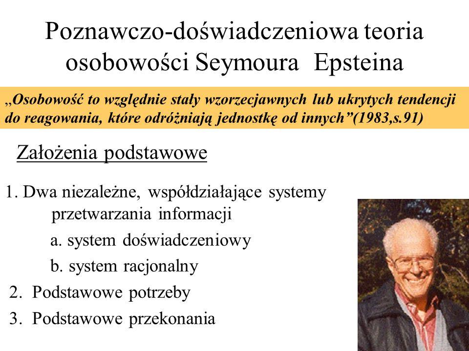 Poznawczo-doświadczeniowa teoria osobowości Seymoura Epsteina Założenia podstawowe 1. Dwa niezależne, współdziałające systemy przetwarzania informacji