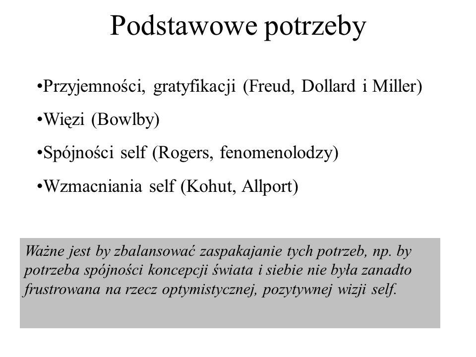 Podstawowe potrzeby Przyjemności, gratyfikacji (Freud, Dollard i Miller) Więzi (Bowlby) Spójności self (Rogers, fenomenolodzy) Wzmacniania self (Kohut