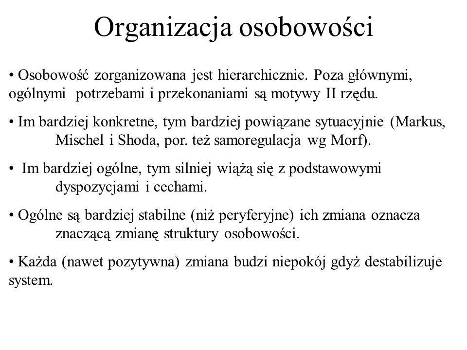Organizacja osobowości Osobowość zorganizowana jest hierarchicznie. Poza głównymi, ogólnymi potrzebami i przekonaniami są motywy II rzędu. Im bardziej