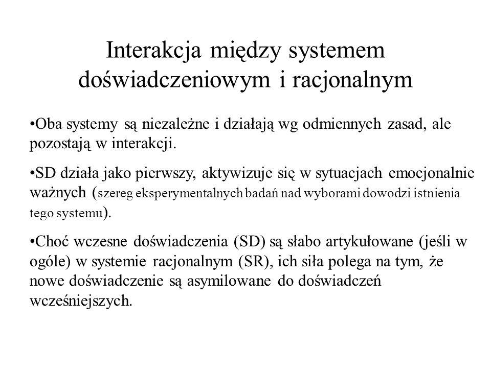 Interakcja między systemem doświadczeniowym i racjonalnym Oba systemy są niezależne i działają wg odmiennych zasad, ale pozostają w interakcji. SD dzi