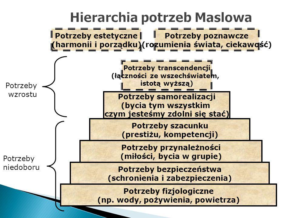 Potrzeby poznawcze (rozumienia świata, ciekawość) Potrzeby estetyczne (harmonii i porządku) Potrzeby fizjologiczne (np. wody, pożywienia, powietrza) P
