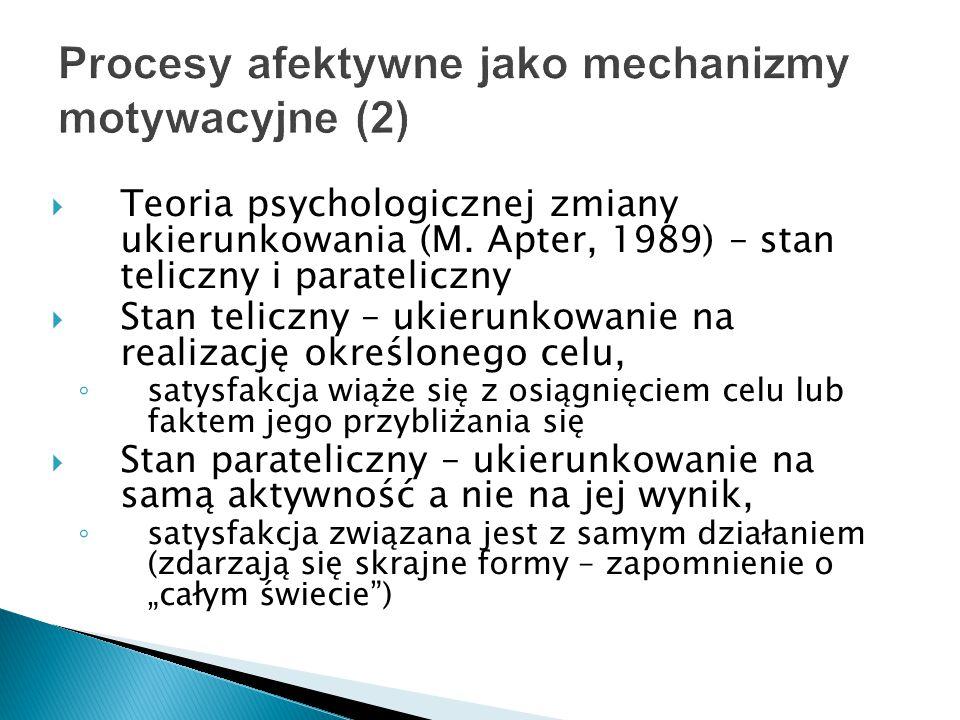  Teoria psychologicznej zmiany ukierunkowania (M. Apter, 1989) – stan teliczny i parateliczny  Stan teliczny – ukierunkowanie na realizację określon